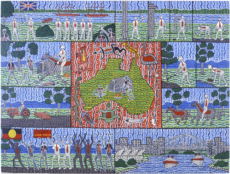Robert Campbell Jnr The Past and Present of 200 years, 1987; acrylic on canvas; 91 x 120 cm; enquire