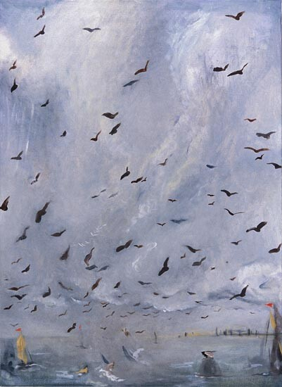Linda Marrinon Birds at Point Lonsdale, 1996; Oil on canvas; 84 x 61 cm; enquire
