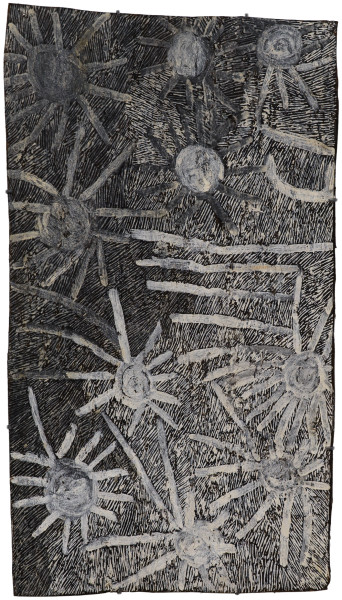 Nyapanyapa Yunupingu Ganyu, 2018; 1956-18; natural earth pigments on bark; 109 x 61 cm; enquire