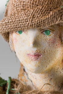 Linda Marrinon Woman in a forest (detail), 2020; plaster, hessian; 121 x 27 x 16 cm; enquire