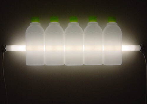 Bill Culbert Eco, 2004; fluorescent lights, electrical cords, plastic bottles; 21 x 61 x 5 cm; enquire