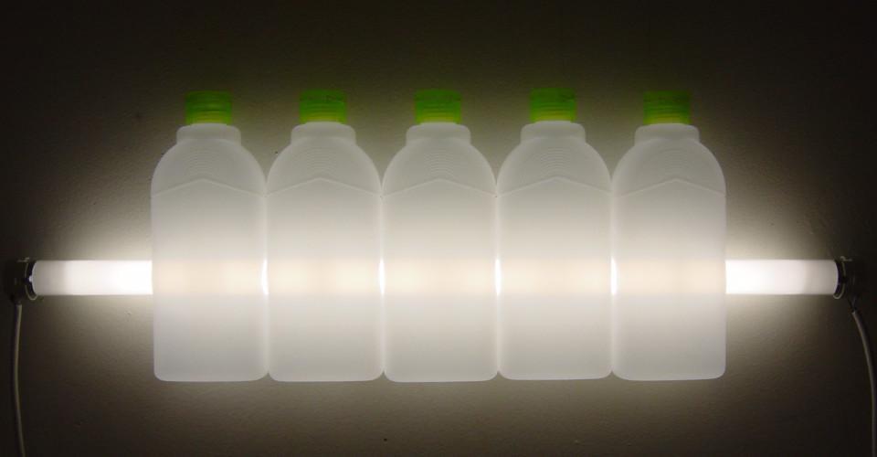 Bill Culbert Eco, 2004; fluorescent lights, electrical cords, plastic bottles; 21 x 61 x 5 cm; enquire