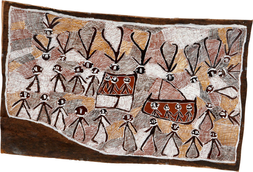 Nyapanyapa Yunupingu Japanese in Port Bradshaw 2, 2008; natural earth pigments on bark; 93 x 157 cm; enquire