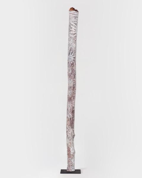 Nyapanyapa Yunupingu Ganyu, 2018; 2460-18; natural earth pigments on hollow log; 243 x 15 x 15 cm; enquire