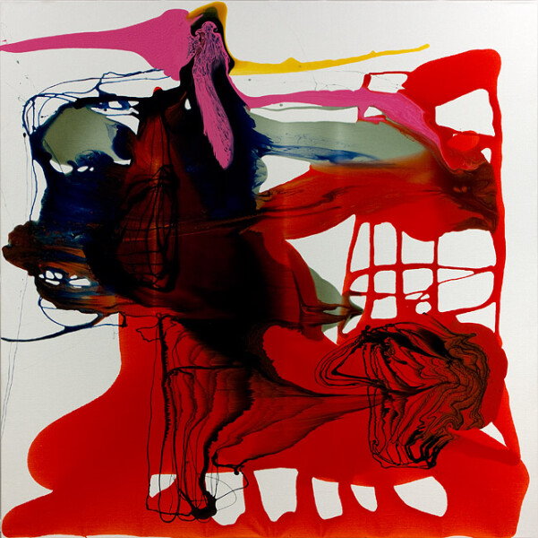 Dale Frank His girlfriend from Europe was called Paisley Ash winner of an Ugly Beauty pageant, 2012; varnish on canvas; 200 x 200 cm; enquire