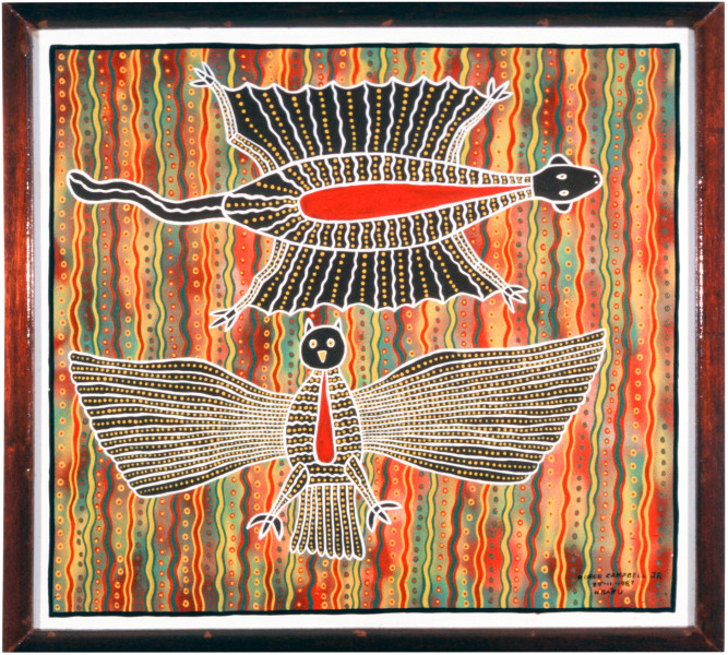 Robert Campbell Jnr Flying Squirrel & Owl, 1987; acrylic on board; 104 x 96 cm; enquire