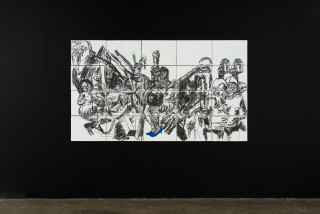 installation view; Pierre Mukeba (Blue) Heels, 2021; charcoal and pastel on archival paper; 120 x 210 cm; enquire