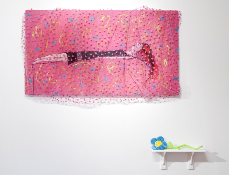 Jenny Watson Girl on Couch, 2010; Part 1: acrylic and horsehair on rabbit skin glue primed cotton with spotted netting overlay, 95 x 172 cm Part 2: velvet daisy on shelf, 60 x 70 x 12 cm ; enquire
