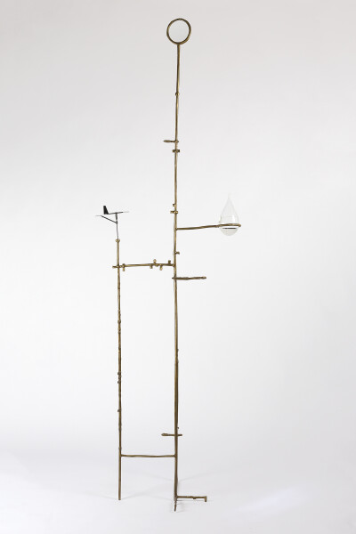 Caroline Rothwell Retort #1, 2017; bronze, magnifying lens, wind vane, storm glass; 225 x 68 x 43 cm; enquire