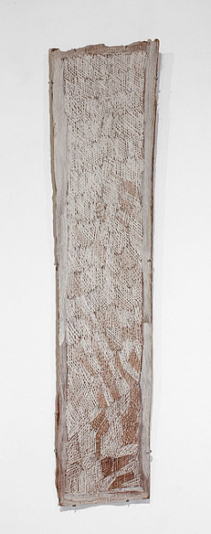 Nyapanyapa Yunupingu Gundu II, 2012; 4255R; natural earth pigments on bark; 130 x 31 cm; enquire