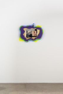 installation view; Brook Andrew This year, future leaving..., 2020; paper, wood, neon, acrylic; 56 x 70 x 9 cm; enquire