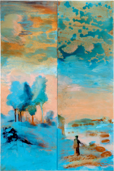 Tony Clark Landscape with St Hilda and Ammonites, 2006; from the series Exhibited in 'Stolen Ritual', 2006; acrylic and permanent ink on canvas board; 2 panels, overall dimensions 120 x 80cm; enquire