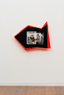 installation view; Brook Andrew This year, Linda Burney says..., 2020; paper, wood, neon, acrylic; 67 x 88 x 8.5 cm; enquire