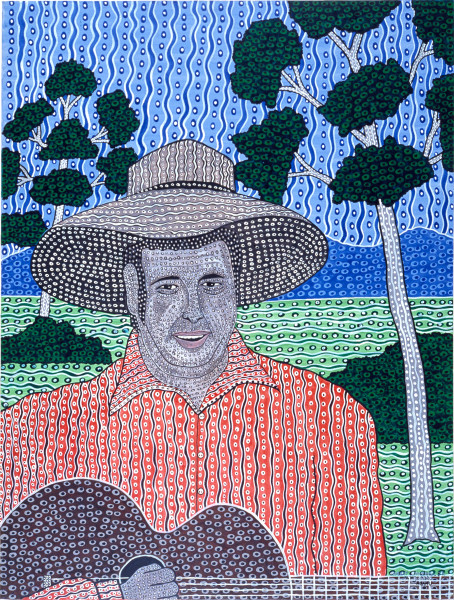 Robert Campbell Jnr Slim Dusty, 1987; acrylic on canvas; 91 x 120 cm; enquire