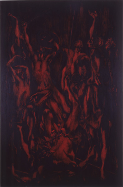 Lindy Lee The Fall, 1987; oils and wax on canvas; 215 x 143 cm; enquire