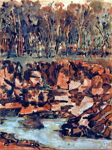 Mandy Martin Peat Bog, 2002; pigment, ochre, hematite, mica, wax medium & acrylic binder on paper; 40 x 30 cm; enquire
