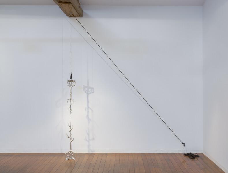 Caroline Rothwell Punctum, 2017; Britannia metal, rope; 150 x 20 x 20 cm; installation dimensions variable; enquire