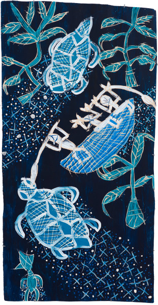 Dhambit Munuŋgurr Milpun milpun, 2020; 3819-20; earth pigments and acrylic on bark; 192 x 99 cm; enquire