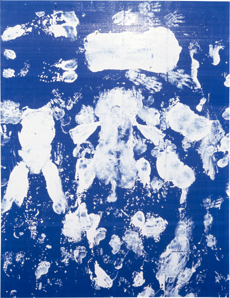Dale Frank That Fucking Painting, 1996; Acrylic on two men engaging in sex in numerous positions directed by the artist in plein air, on traditional dyed woven Chinese fibreglass; 260 x 200 cm; enquire
