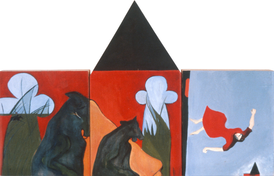 Vivienne Shark LeWitt The Bloody Chamber, 1983; acrylic on wood, 3 panels; 56 x 37 cm; enquire