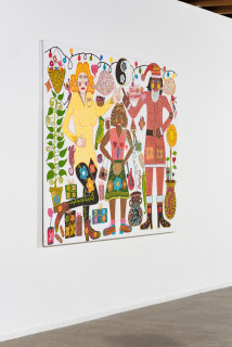 installation view; Kaylene Whiskey Dolly's Christmas, 2021; acrylic on linen; 152 x 198 cm; enquire