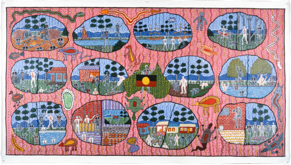 Robert Campbell Jnr Abo History (Facts), 1988; acrylic on canvas; 127.5 x 235.5 cm; enquire