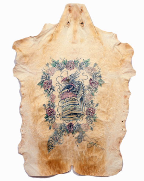 Wim Delvoye Untitled (Liberty Bell), 2006; tattooed pigskin, framed between glass; 190 x 139 cm; enquire