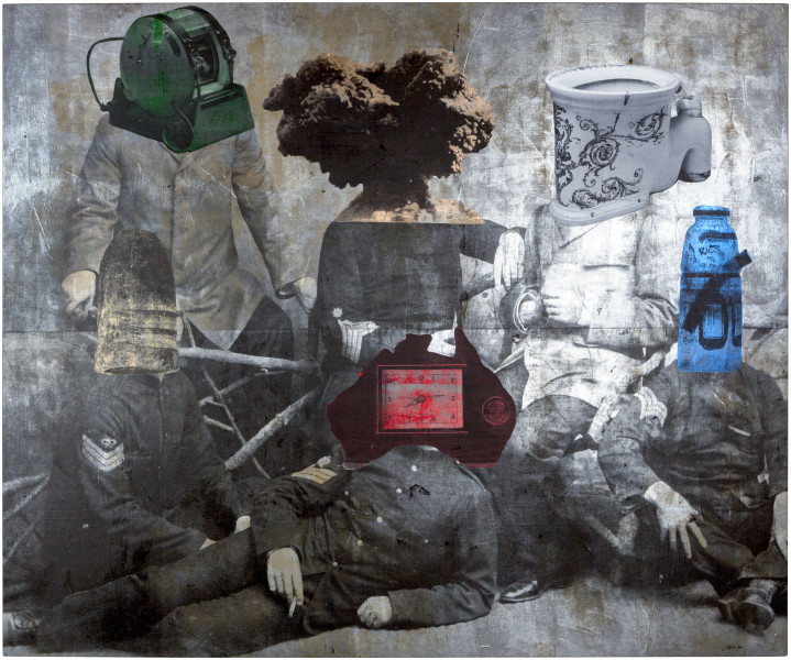 Brook Andrew Guardians of the galaxy: the motherhood number, 2016; Linen, acrylic paint, ink, foil; 250 x 300 x 5 cm; enquire
