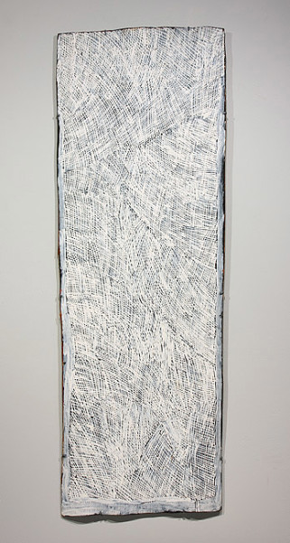 Nyapanyapa Yunupingu White Painting, 2011; 3968O; natural earth pigments on bark; 151 x 52 cm; enquire