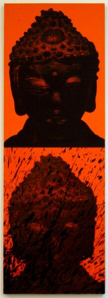 Lindy Lee Buddha - gold, 2002; from the series Ten Worlds, Ten Directions; inkjet print, oil, acrylic and wax on board; 81 x 28.5 cm; 2 panels; enquire