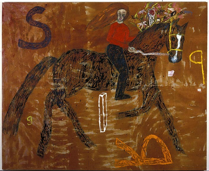Jenny Watson Spring, 1989; oil, Indian pigments and haberdashery on Belgian linen; 205 x 250 cm; enquire