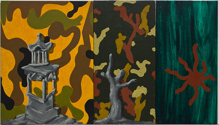 Tony Clark Chinoiserie Landscape, 1987; oil on canvas boards, 3 panels; 40.6 x 71.5cm (overall); enquire