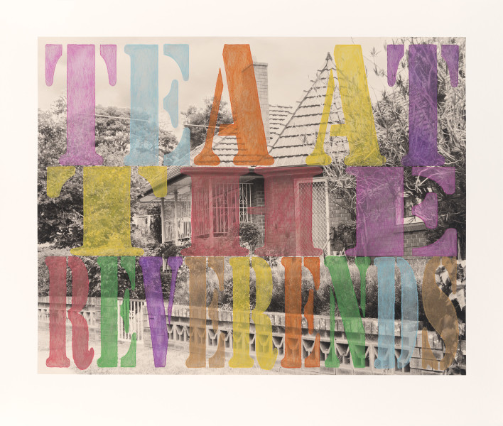 Tracey Moffatt Suburban No. 6. 'Tea at the Reverends', 2013; from the series Spirit Landscapes; digital print hand coloured in water crayon; 81 x 99 cm; Edition of 8; enquire