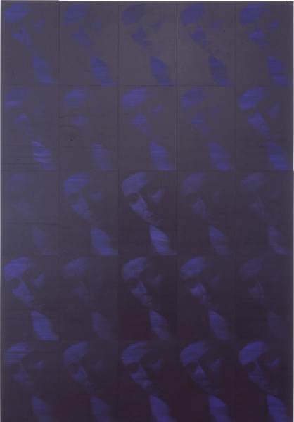 Lindy Lee Gates of the Face, 1997; acrylic and photocopy on Stonehenge paper on board; 205 x 142.5 cm; 25 panels; enquire