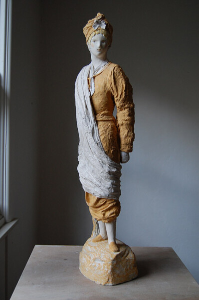 Linda Marrinon Regency Fancy Dress, 2011; painted and tinted plaster and muslin, ; 86 x 24 x 23 cm; enquire