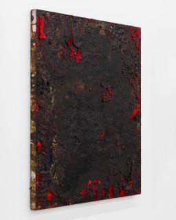 Kirtika Kain The Solar Line XXIV, 2020; Tar, sindoor pigment, disused silk screen; 66 x 58 cm; enquire