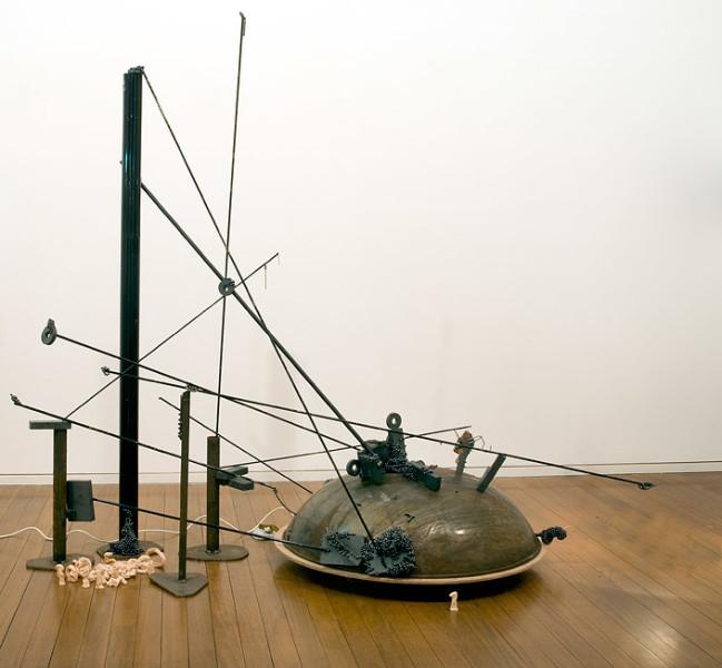 Mikala Dwyer 1, 2009; magnets, steel, wood, coins; 204 x 220 x 130 cm; enquire
