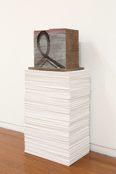 Imants Tillers Repeatable Form (2), 2015; 169 blank canvas boards and painted bronze object, nos. 96343-96512; 86.5 x 37 x 25.5 cm; enquire