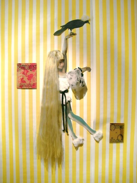 Jacqueline Fraser The Ventriloquist says, 2005; faux fur, French floque organza, wig, back light photo, French silk taffeta; 150 x 120 cm; enquire