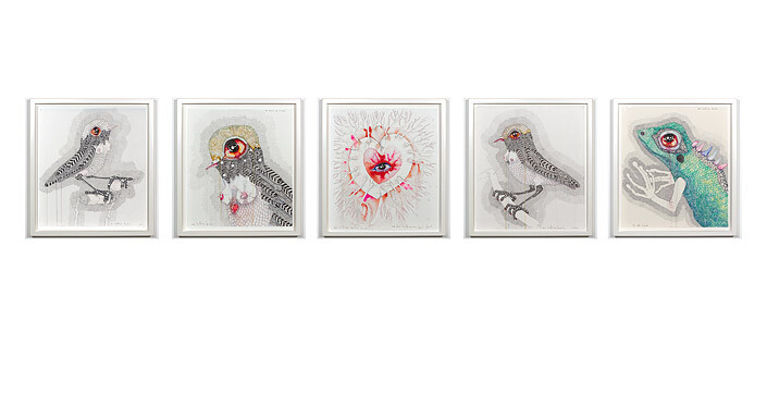 Del Kathryn Barton nightingale; the heart of a bird; …and stain it with my own heart's-blood; nightingale; the little lizard, 2011-12; water colour, gouache and ink on hot pressed paper; 43 x 210 cm; overall (framed); enquire