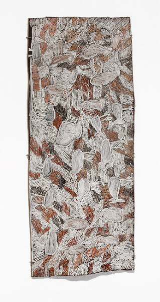 Nyapanyapa Yunupingu Murriyil, 2012; 4138C; natural earth pigments on bark; 116 x 48 cm; enquire