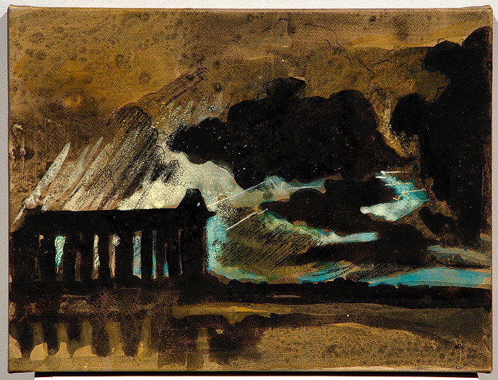 Mandy Martin Epic Fatality; Turner and Paestum in a Thunderstorm, 2007; Ochre, pigment and acrylic on arches paper; 30 x 40 cm; enquire