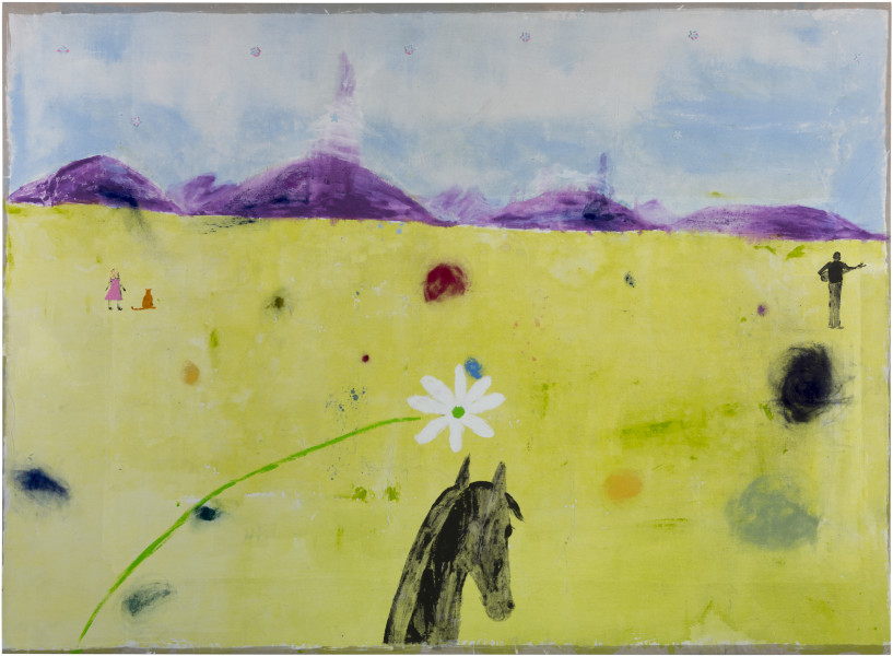 Jenny Watson The world looks so much better through a horse's ears, 2018; acrylic, Japanese pigments, haberdashery on rabbit skin glue primed Belgian linen; 203.5 x 277.5 cm; enquire
