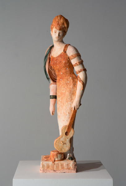 Linda Marrinon Woman with Requinto, 2016; painted plaster; 71 x 20 x 19 cm; Enquire