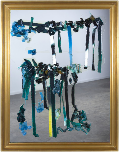 Dale Frank How I live now 2, 2014; scraped 200 x 200 cm varnish painting on glass; 134 x 104 cm; (framed); enquire