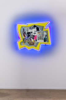 installation view; Brook Andrew This year, with Blak girl magic..., 2020; paper, wood, neon, acrylic; 80 x 92 x 12 cm; enquire