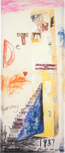 Jenny Watson The Enchanted House, 1987; oil and acrylic on cotton duck; 215 x 91 cm; enquire