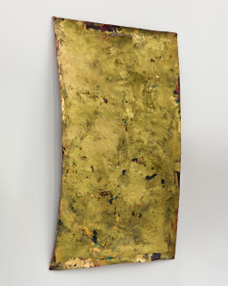 Kirtika Kain The Solar Line XII, 2020; Screen printing emulsion, gold leaf, gold pigment, beeswax, disused silk screen mesh; 74 x 50 cm; enquire