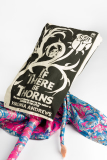 Sarah  Contos If There Be Thorns, 2019; screen-print on canvas, fabric, poly-fibre, air-dry clay; 110 x 35 cm; enquire