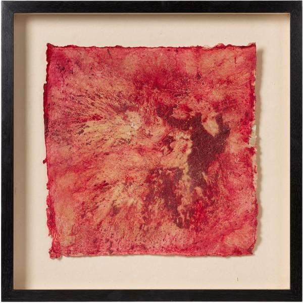 Kirtika Kain sex, 2019; sindoor pigment, wax, plaster, hand made paper; 55 x 55 cm; enquire